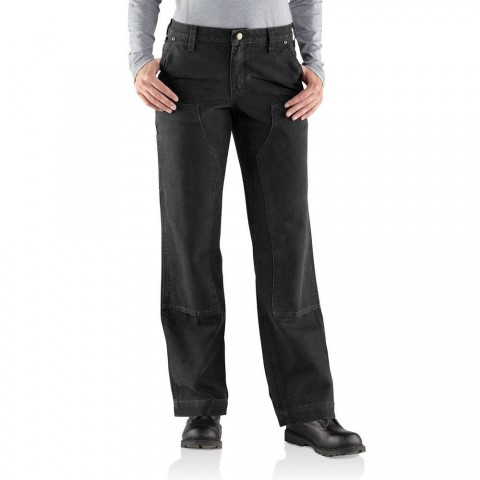 best price carhartt 100681 - women's kane double front sandstone duck relaxed fit pant black limited sale last chance