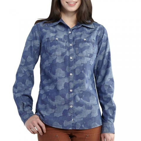 best price carhartt 102074 - women's milam printed shirt washed indigo chambray limited sale last chance