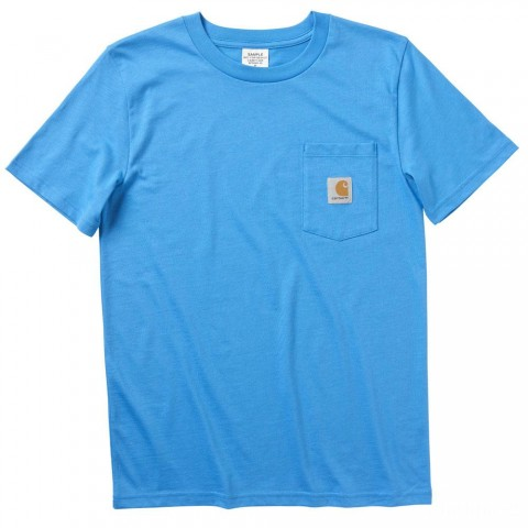 best price carhartt ca8977 - short sleeve pocket tee boys french blue limited sale last chance