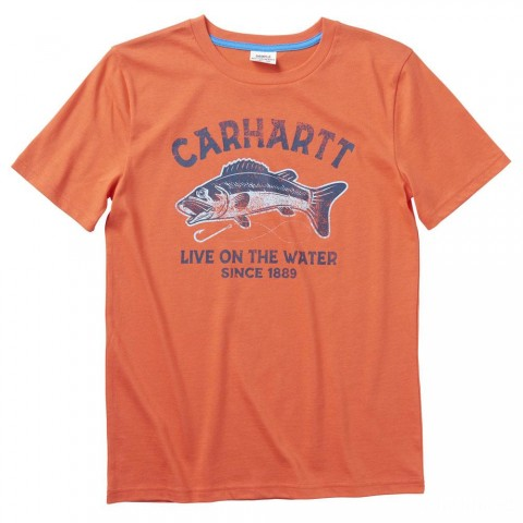 best price carhartt ca6080 - short sleeve graphic tee boys hot coral limited sale last chance
