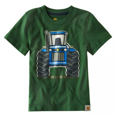 best price carhartt ca8792 - tractor tee boys forest green last chance limited sale