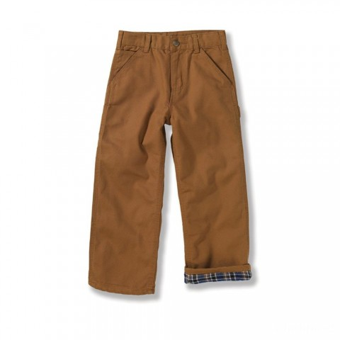 best price carhartt ck8316 - flannel lined canvas dungaree boys brown limited sale last chance