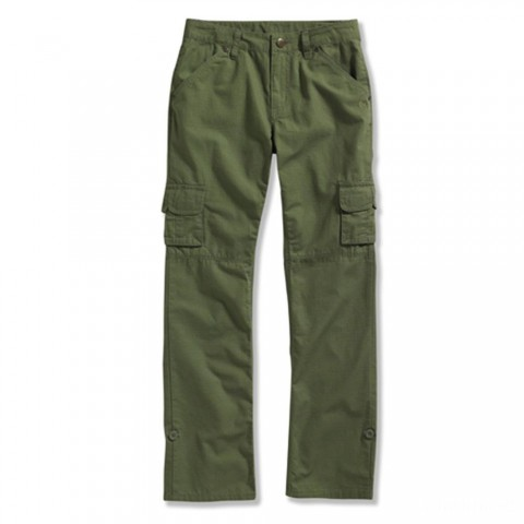 last chance carhartt ck9370 - washed ripstop roll-up pant girls dark green limited sale best price