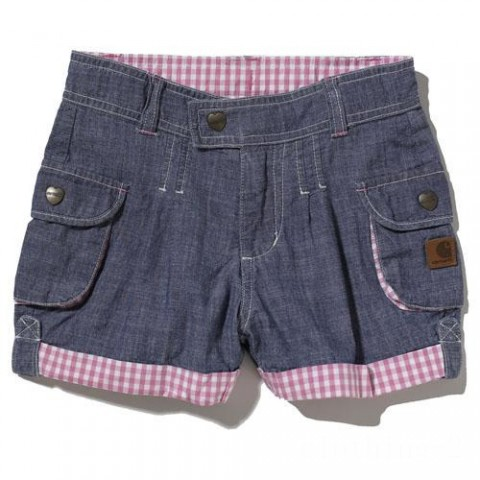 last chance carhartt ch9206 - washed chambray cargo pocket short girls blue best price limited sale
