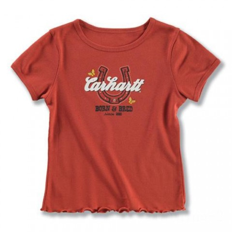 last chance carhartt ca8045 - born and bred t-shirt girls dark red limited sale best price