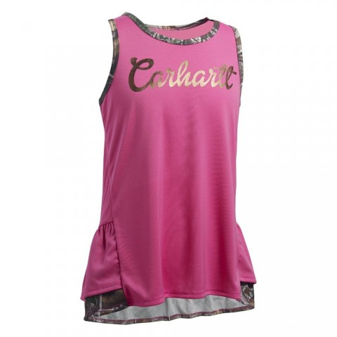 last chance carhartt ca9395 - double ruffle tank girls pink best price limited sale