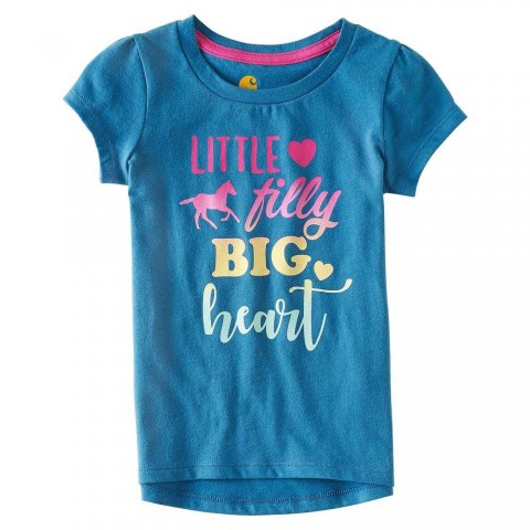 last chance carhartt ca9574 - little filly tee girls blue limited sale best price