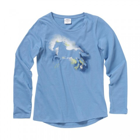 limited sale carhartt ca9706 - watercolor horse tee girls blue haven best price last chance