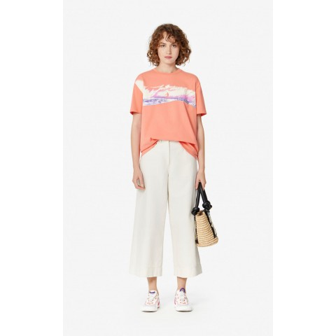 last chance 'waves' t-shirt - apricot best price limited sale
