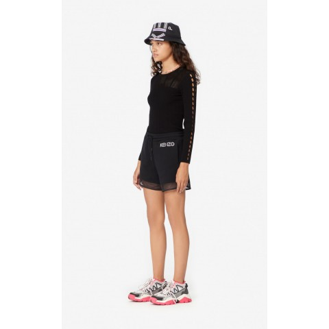 limited sale dual-material shorts - black last chance best price