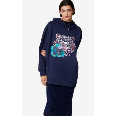 best price 'indonesian flower' tiger hoodie - ink last chance limited sale