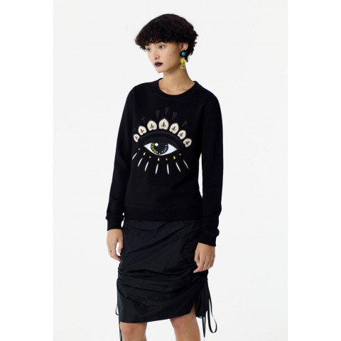 limited sale embroidered eye sweater - black best price last chance