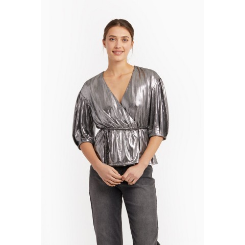 limited sale mary wrap top - gunmetal best price last chance