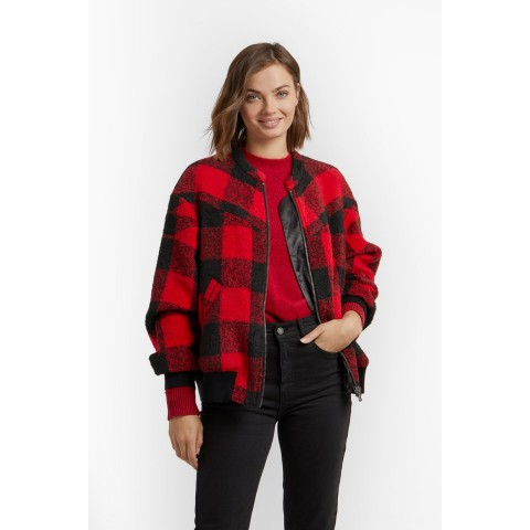 best price brenda quilted bomber - red/black last chance limited sale