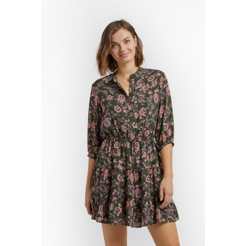limited sale ollie dress with sleeves - green multi last chance best price