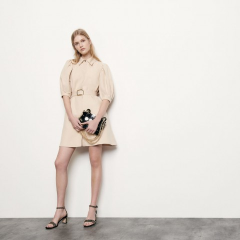 last chance coat dress in cotton and linen - beige limited sale best price
