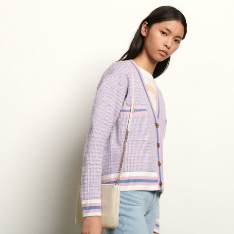 best price cropped tweed effect cardigan - blue/pink last chance limited sale