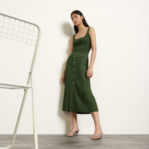 limited sale long knit skirt - olive green last chance best price