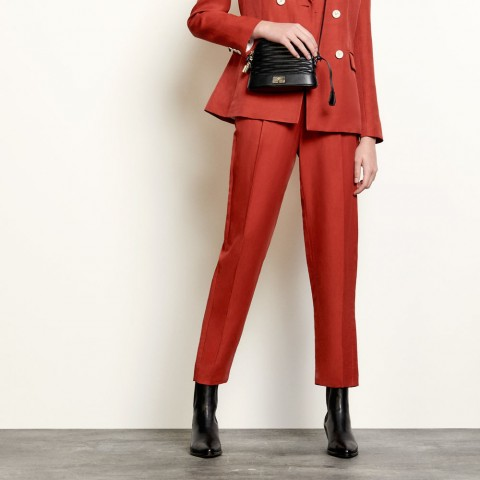 last chance high-waisted tailored trousers - terracotta limited sale best price