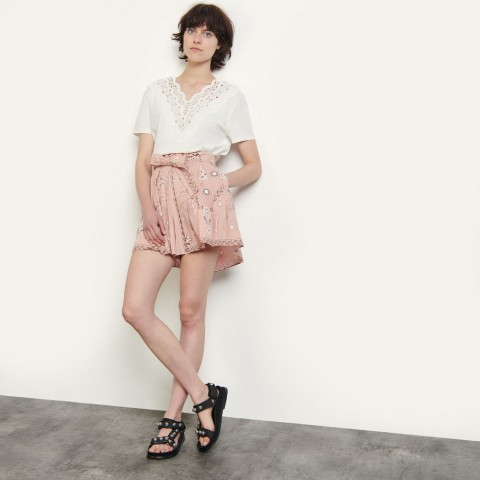 best price linen and cotton printed shorts - powder limited sale last chance