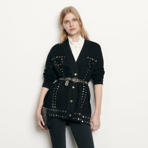 limited sale cardigan trimmed with studs - black best price last chance