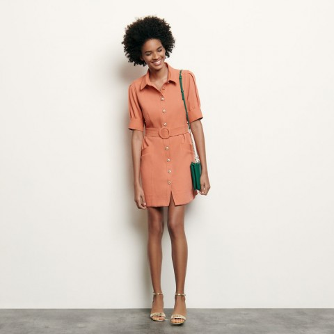 best price shirt dress with decorative buttons - abricot limited sale last chance