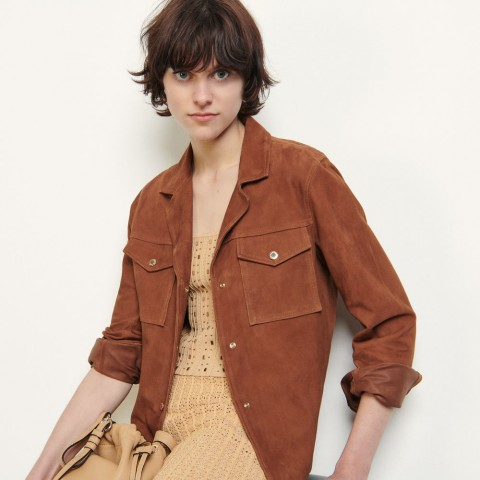 last chance suede jacket with gold-tone press studs - brown limited sale best price