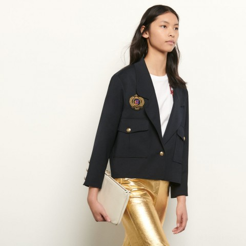 best price short tailored jacket with patch - navy blue last chance limited sale