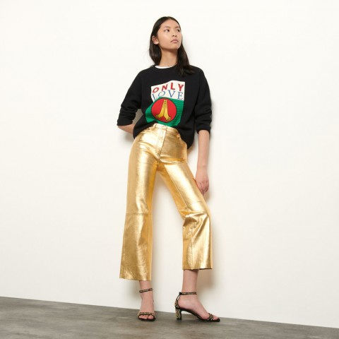 last chance metallic leather pants - gold limited sale best price