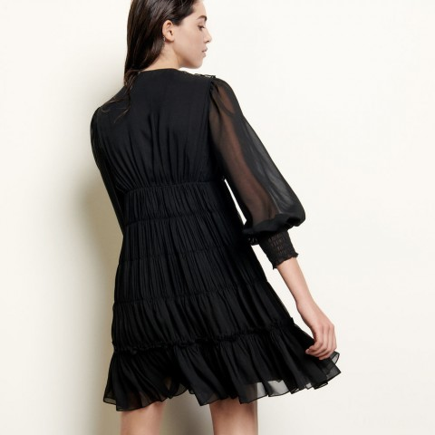 best price short voile dress with ruffles - black limited sale last chance