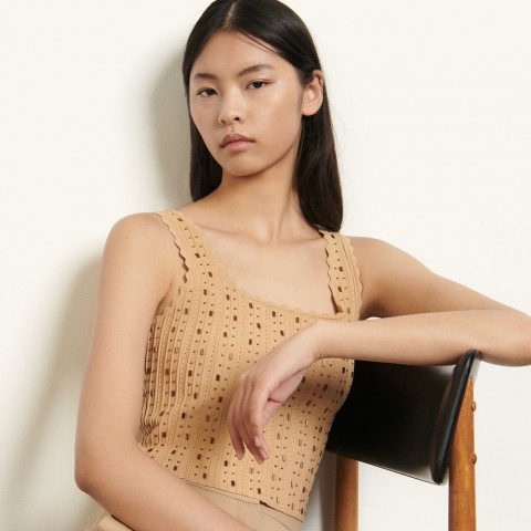 limited sale knitted crop top with bead jewels - gold best price last chance