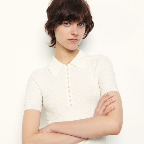 best price polo-style pointelle sweater - white limited sale last chance