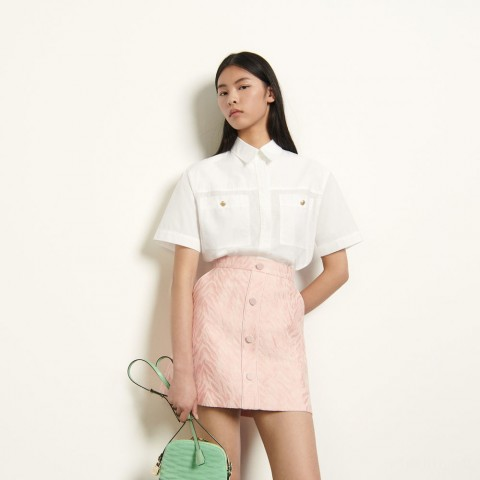 best price short striped jacquard skirt - pink limited sale last chance