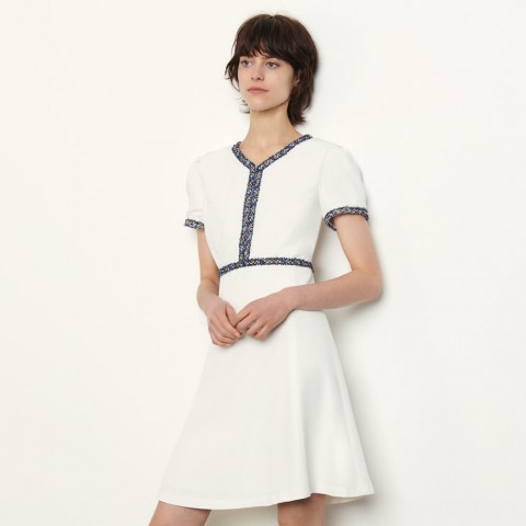 last chance short dress with fringed trim - white limited sale best price