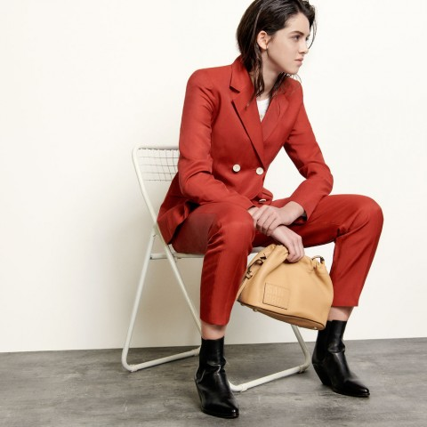 last chance double-breasted blazer - terracotta limited sale best price