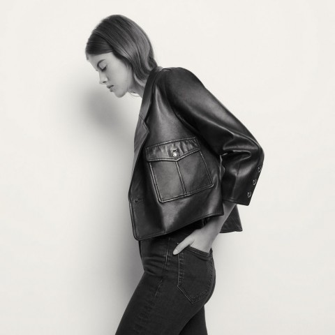 last chance short tailored leather jacket - black best price limited sale