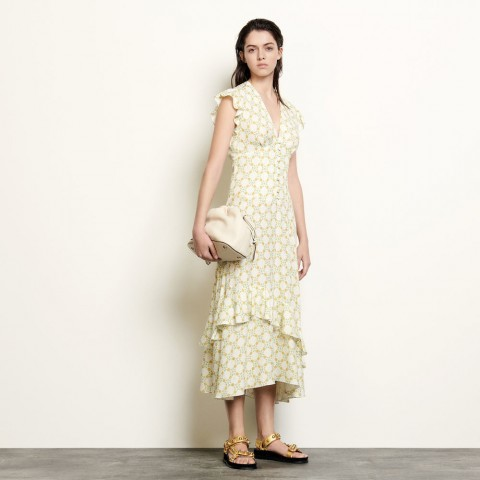last chance long dress in printed jacquard - ivory limited sale best price