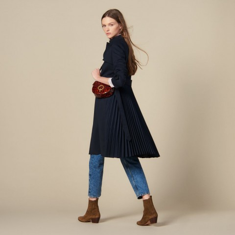 limited sale trench coat with pleated inset - navy blue best price last chance