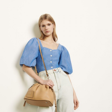 best price puff-sleeved shirt - blue last chance limited sale