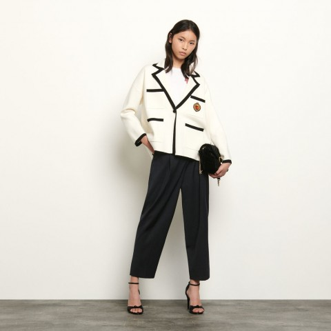 best price tailored jacket style cardigan - ecru last chance limited sale