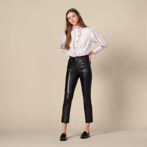 best price straight leather pants with seaming - black last chance limited sale