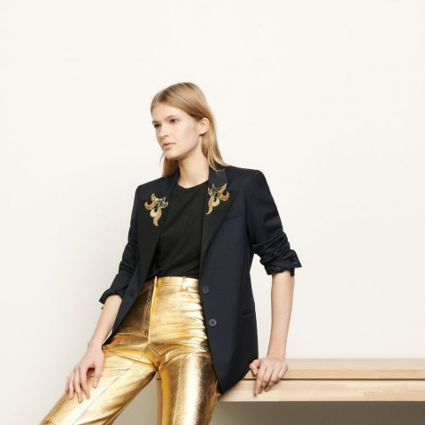 best price tailored jacket with jewelled patches - navy blue limited sale last chance