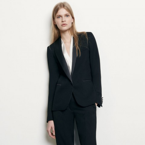 limited sale tuxedo jacket with satin inset - black best price last chance