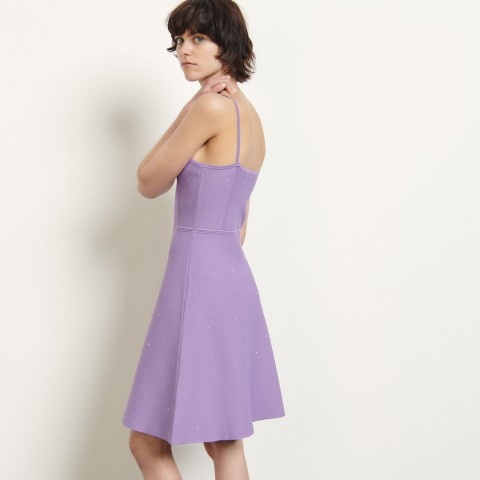 last chance knitted dress with straps - purple limited sale best price