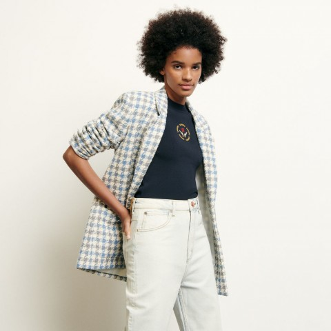 limited sale tailored jacket in houndstooth tweed - blue sky last chance best price