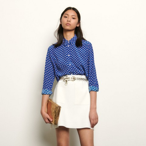 last chance printed silk shirt - blue limited sale best price