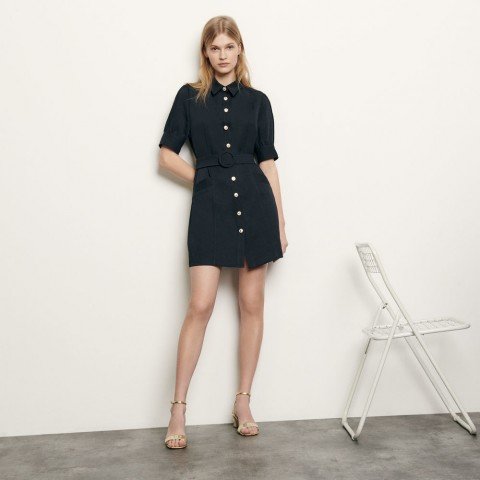 last chance shirt dress with decorative buttons - navy blue best price limited sale