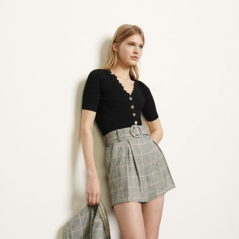 last chance belted checked shorts - grey/ beige limited sale best price