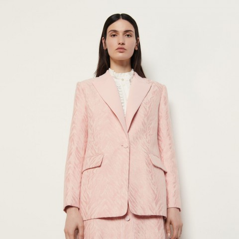 limited sale tailored jacket in striped jacquard - pink best price last chance
