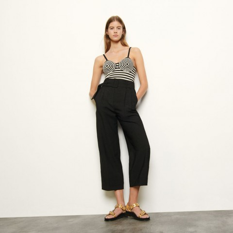 best price high-waist trousers with belt - black limited sale last chance